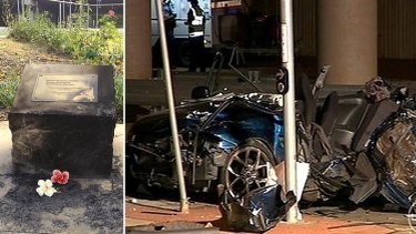 The damaged memorial and the scene of their crash in Goodna, in April 2011.