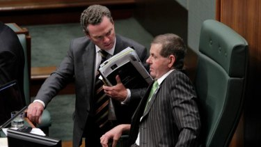 Heat is on ... Christopher Pyne and the Speaker, Peter Slipper.