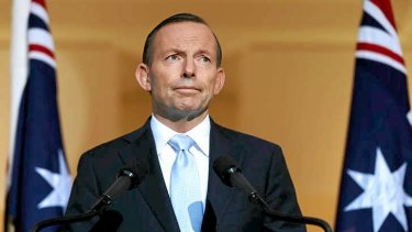 Prime Minister Tony Abbott addresses the media during a press conference at Parliament House in Canberra.