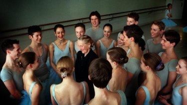 Always admired: Dame Maggie Scott with students of the Australian Ballet School in 1999.