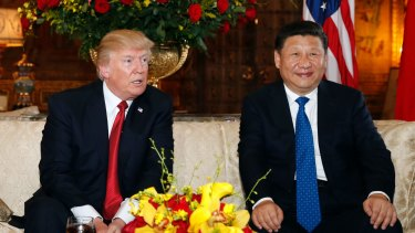 Presidents Donald Trump and Xi Jinping at Mar-a-Lago, Florida, on April 6.