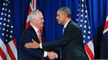 Prime Minister Malcolm Turnbull and former US president Barack Obama.