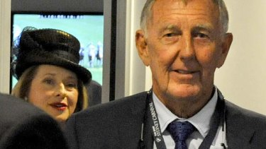 Falling out: racehorse owner John Singleton and trainer Gai Waterhouse leave the stewards room.
