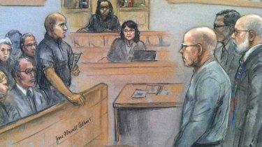 """James """"Whitey"""" Bulger listens to the verdict in his murder and racketeering trial as seen in this courtroom drawing in Boston."""