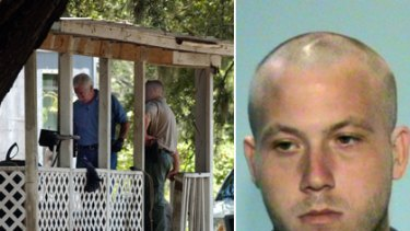 Eight slain ... (Left) Glynn County investigators on the porch of a mobile home where eight people were killed in Brunswick, Georgia, and (right) 22-year-old Guy Heinze Jr, who is in police custody.