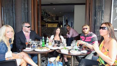 How things have changed ... Jackie O, Kyle Sandilands, Tamara Jaber, Brian McFadden and Tania Zaetta enjoying lunch in Woolloomooloo in 2009. Now tales of broken hearts and embarrassment plague this circle of A-list luminaries.