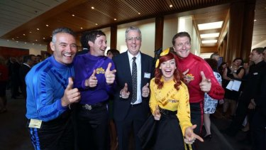 ABC managing director Mark Scott with the Wiggles at an ABC showcase at Parliament House. Photo: Andrew Meares
