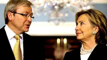 Kevin Rudd with Hillary Clinton in Washington this week.