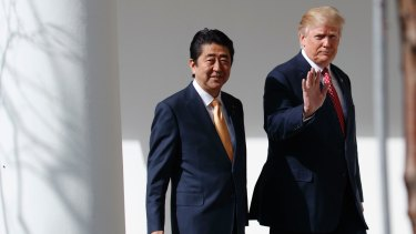 Japanese Prime Minister Shinzo Abe pictured with US President Donald Trump.
