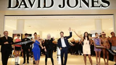 David Jones brand ambassadors Emma Freedman, Jason Dundas and Jessica Gomes along with David Jones group executive for merchandise Donna Player officially open the new David Jones store at Macquarie Centre in North Ryde.