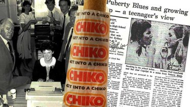 Chiko chic ... Helen Pitt, left at the typewriter, poses before filing her original story in 1981, when Chiko roll consumption had started its fall from 40 million a year to around 17 million last year.