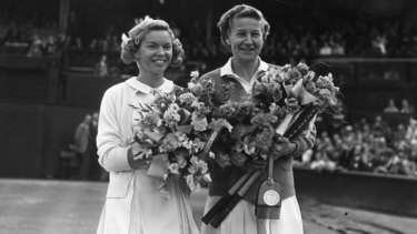 Best in the world: Beverly Baker Fleitz, left, and Louise Brough before the women's singles final at the Wimbledon Lawn Tennis Championships, which Brough won on July 2, 1955.
