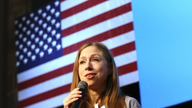 Chelsea Clinton speaks during a campaign rally in Wisconsin.