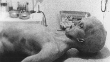 "Image of a purported ""alien"" from a documentary on the Roswell incident."