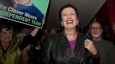 Clover Moore at her election win celebration party at the Dove and Olive Hotel in Surry Hills.