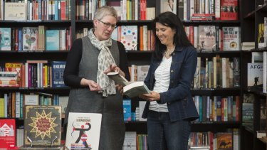 Karen Viggers, right, with the owner of Book Passion, Sue Champion.