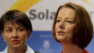 Follow the leader ... Queensland Premier Anna Bligh and Julia Gillard at the state conference yesterday.