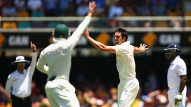 Timely dismissal ...  Mitchell Johnson removed Jonathan Trott with the final ball before lunch.