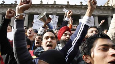 Indian students in Melbourne protest in May, 2009.