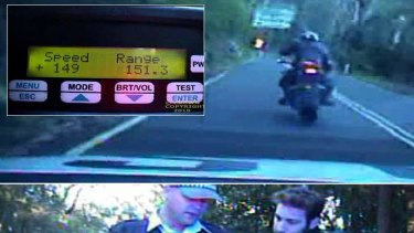 The view from the police camera ...  the road, the reading and the ticket that led to  $60,000-worth of legal action to see speeding charge thrown out.