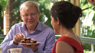 Kevin Rudd with Annabel Crabb on ABC TV's <i>Kitchen Cabinet</i>.
