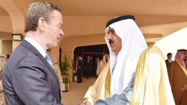 Defence Industry Minister Christopher Pyne meets with Prince Mutaib bin Abdullah al-Saud in Riyadh in December.