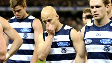 Gary Ablett leaves the ground after Geelong's preliminary final loss to Collingwood.