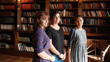 Three of the five authors on the 2013 Miles Franklin Literary Award short-list: from left, Carrie Tiffany (<i>Mateship with Birds</i>), Romy Ash (<i>Floundering</i>) and Michelle de Kretser (<i>Questions of Travel</i>).