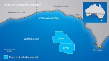 Chevron's exploration blocks were located 300 kilometres west of Port Lincoln.