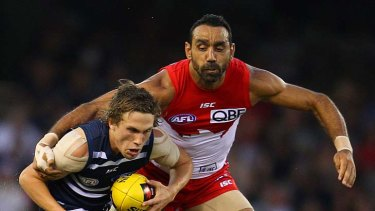 Power player: Adam Goodes (right) is likely to return for the clash against Geelong.
