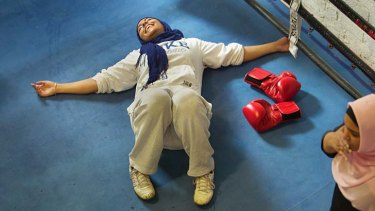 Iman Abdulhai relaxes after a tough session in the ring.