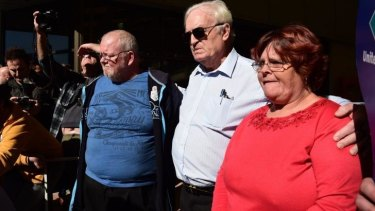Ashley Kennedy, Blacktown councillor Tony Bleasdale and Peta Kennedy at the protest on Wednesday.