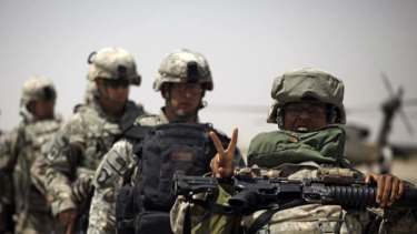 Heading home ... US soldiers at Sather Air Base in Baghdad, Iraq.