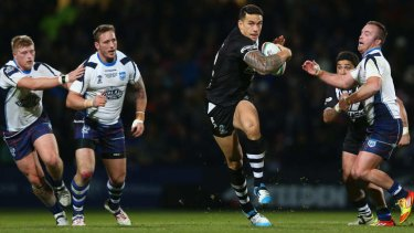 Back to his feet: Sonny Bill Williams bounced back from an early injury scare to influence the match with some strong runs through the heart of Scotland's defence.