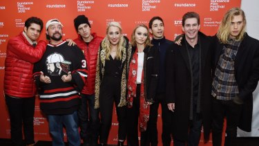 Kevin Smith (second from left), director of Yoga Hosers, with cast members (from left) Tyler Posey, Jason Mewes, Harley Quinn Smith, Lily-Rose Depp, Justin Long, Ralph Garman and Austin Butler.