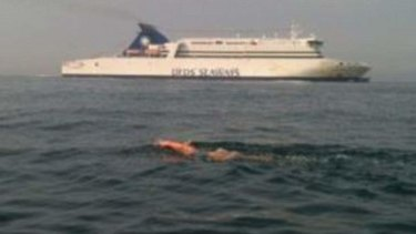 Englishwoman Susan Taylor's support team posted this picture during her attempt to swim the English channel before her death.