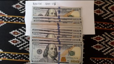 Some of the money allegedly used by Australia to pay people traffickers to take migrants to Indonesia.