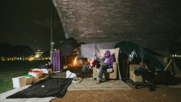 Tent life: Jimmy's home under the arches at Wentworth Park.