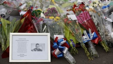 Tributes: flowers for Drummer Lee Rigby.