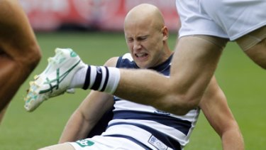 Gary Ablett is put on his backside during last Monday's loss to Carlton.