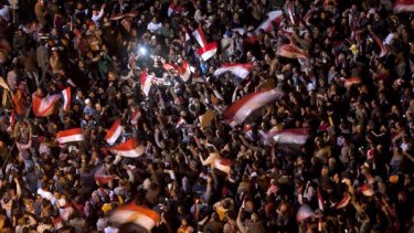 History in the making ... thousands gather in Cairo's Tahrir Square.