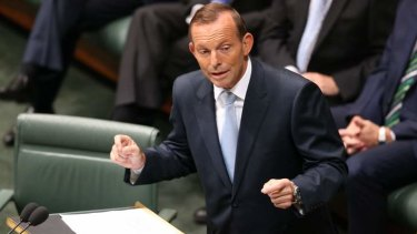 Prime Minister Tony Abbott delivering the Closing the Gap report to Parliament.