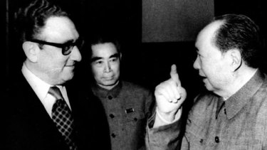 Henry Kissinger meets Mao Zedong and Premier Zhou En-lai in 1973.