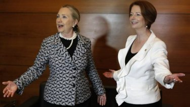 Former US secretary of state Hillary Clinton and Ms Gillard discussed their experiences with sexism during their time in government.
