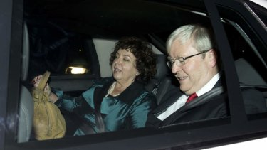 Blame game: Prime Minister Kevin Rudd and his wife Therese Rein leave their home in Brisbane.