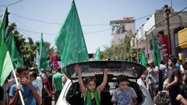A senior Hamas official told supporters at the rally the war with Israel would not be over until the group's political demands were met.