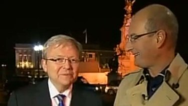 """""""I'm sure I'm going to enjoy it"""" ... Kevin Rudd with David Koch."""