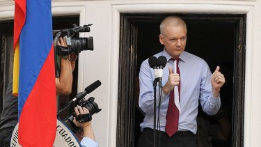 Thumbs up. Julian Assange has confirmed he will run for the Senate in the 2013 election.