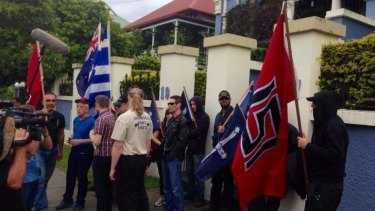 The Australia First Party marches in support of Golden Dawn members.