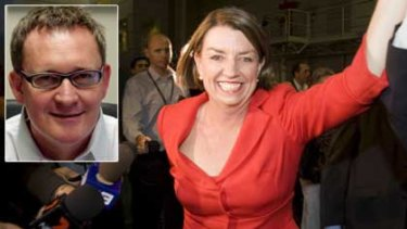 Queensland Premier Anna Bligh celebrates at her 2009 election victory. INSET: Anti-privatisation campaigner Warren Smith from the Maritime Union of Australia.